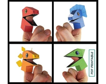 Dinosaur Finger Puppet Set of 4- Papercraft PDF Printable