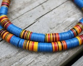 Vintage African Vinyl (Vulcanite) Record Beads, Bright Blue with Black, Red, and Yellow 10x.5mm