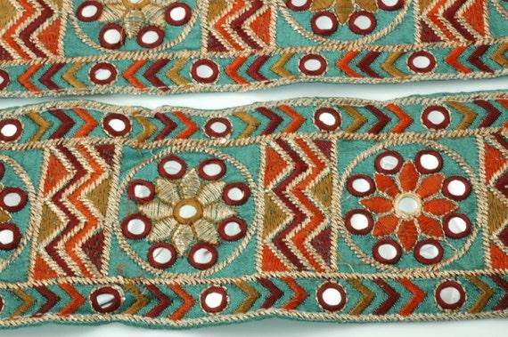 Teal Mirrored, with Orange and Rust Embroidery- Trim, Ribbon, Sari Border- 1 Yard