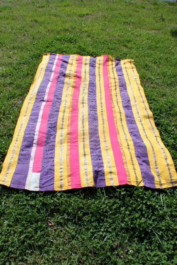 Vintage Aso Oke Fabric (large) from the Yoruba Tribe /Pink, Purple, Yellow, Glittery / African Tribal Textile / Wall Hanging, Picnic Blanket