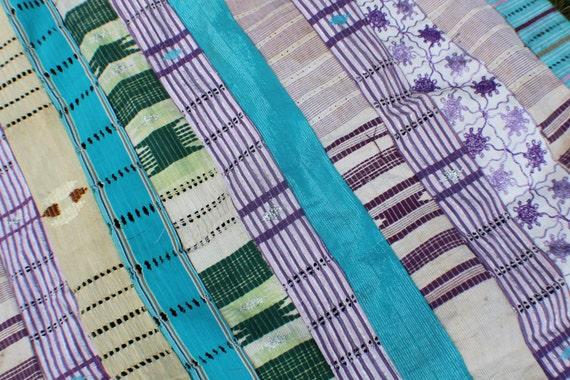 Vintage Aso Oke Fabric (large) from the Yoruba Tribe- Bright Aqua, Purple, Green, Gold