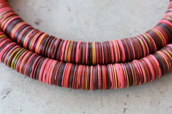 Vintage African Vinyl (Vulcanite) Record Beads, Bright Pink with other Colors, 15x.5mm