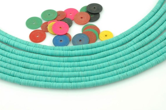 African Vinyl Record Disc Beads, Bright Turquoise Green, 3mm, Neon Tribal Jewelry Making Supplies, Beads for Bracelets, Heishi Discs