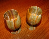Two Vintage Marble Goblets,Made in Pakistan,Mint Condition