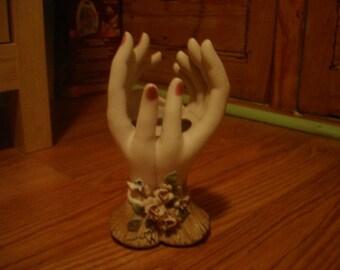 Vintage Lefton China Pink Rose Hands Vase