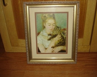Vintage Art Print by Windsor Art,Woman with a cat