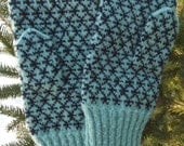 Finely Knitted Estonian Mittens in Black and Light Green FREE SHIPPING