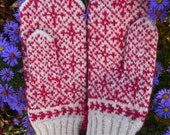 Finely Knitted Estonian Mittens in Pink /White FREE SHIPPING warm and windproof