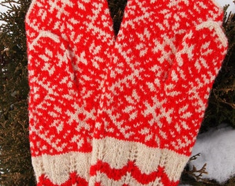 Finely Knitted Estonian Kihnu Mittens - warm and windproof
