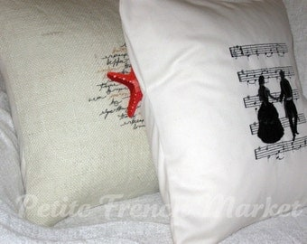 Victorian/ sheet music/ Victorian dancers/ Victorian clothing/ embroidered/ pillow cover/ pillow cushion/ Soft furnishings