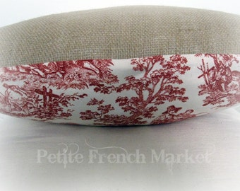 Hand/ pointing up/ embroidered/ burlap/ pillow cover/ red embroidery/ red and cream toile/ pillow cushions