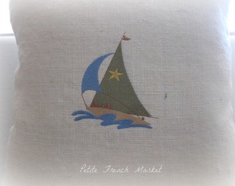 Sailboat/ Embroidered/ laundered Burlap/ Pillow Cover
