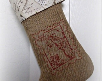 Vintage/ French/ Postage Stamp/ embroidered/ Burlap /Christmas Stocking/ Marianne/ France/ vintage postcards/ French script