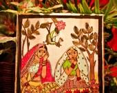 Flower sellers, hand painted