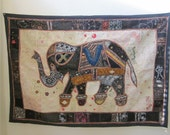 """Elephant, Wall Hanging/Table throw,Indian, Patchwork, 40"""" X 40"""""""