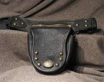 Waist Purse in Black Leather and Antique Brass