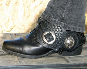 Biker/Steampunk Black Leather Spiked Bootstraps