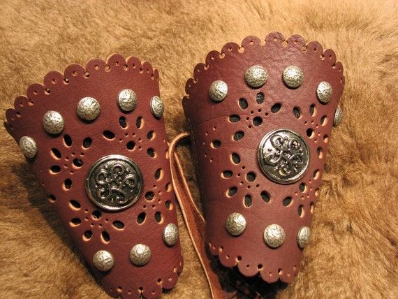 Leather Filigreed Wrist Cuffs in Merlot and Black