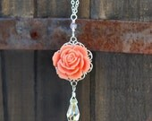 Coral Pink Rose and Crystal Teardrop Necklace
