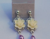 Vintage Style Lotus Flower and Pearl Teardrop Earrings Jewelry Gift for Her.  Free Shipping.
