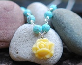 Dainty Yellow Rose Cabochon and Turquoise Beaded Necklace Jewelry Gift for Her.  Free Shipping.