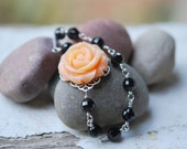 Peach Rose and Black Crystal Asymmetrical Beaded Necklace Jewelry Gift for Her.  Free Shipping.