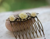 Bridal Hair Comb - Roses and Rhinestones on Antique Brass or Silver Comb Available in Many Colors Jewelry Gift for Her.  Free Shipping.