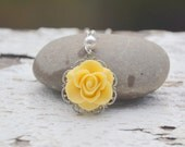 Yellow Rose and White Swarovski Pearl Bridesmaids Necklace. Wedding Jewelry. Bridesmaid Necklace.  Bridal Party Gifts.