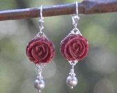 Burgundy Rose and Grey Swarovski Pearl Earrings