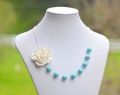 Large White Sakura Flower and Turquoise Beaded Chunky Asymmetrical Statement Necklace Jewelry Gift for Her.  Free Shipping.