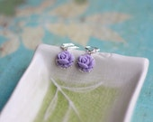 Darling Lavender Purple Rose Dangle Earrings Jewelry Gift for Her.  Free Shipping.