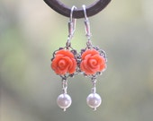 Coral Rose and White Swarovski Pearl Dangle Earrings.  Bridesmaid Earrings. Bridal Jewelry. Coral Jewelry. Flower Earrings. GIFT FOR HER
