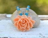 Vintage Style Peach Cabbage Rose and Blue Opal Swarovski Crystal Beaded Necklace in Gold Jewelry Gift for Her.  Free Shipping.
