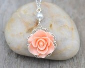 Simple Peach Rose and White Swarovski Pearl Bridesmaids Necklace Jewelry Gift for Her.  .