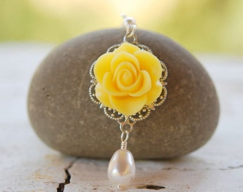 Yellow Rose and White Swarovski Pearl Teardrop Necklace Jewelry Gift for Her.  .