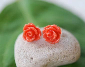 Rose Stud Earrings Jewelry Gift for Her.  Free Shipping.