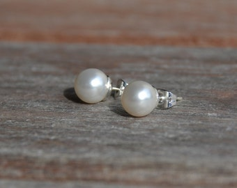 White Swarovski Pearl and Sterling Silver Posts Choose Color Ivory White or Grey Wedding Jewelry Jewelry Gift for Her.  .
