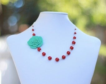 Unique Turquoise Rose and Coral Red Swarovski Pearl Asymmetrical Necklace Jewelry Gift for Her.  .