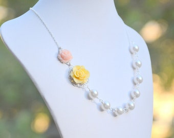 Canary Yellow Rose and Soft Pink Rose Asymmetrical Bridesmaids Necklace with Large White Swarovski Pearls
