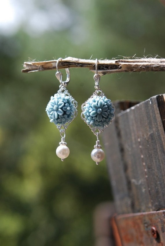 Light Blue Daisy Blossom and Pearl Earrings Jewelry Gift for Her.  Free Shipping.