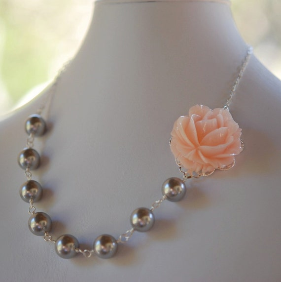 Glossy Pink Rose and Gray Pearl Necklace