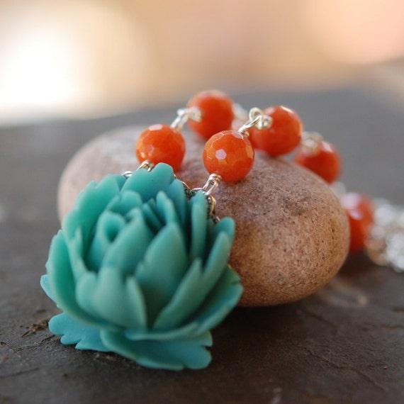 Turquoise Flower Cabochon Necklace With Burnt Orange Jade