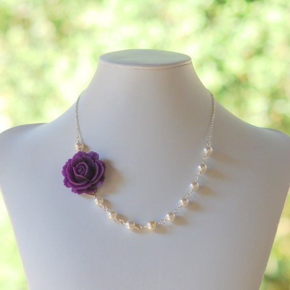 Romantic Eggplant Purple Rose Asymmetrical Necklace with White Swarovski Pearls.  Unique Bridesmaid Jewelry.  Statement Necklace.