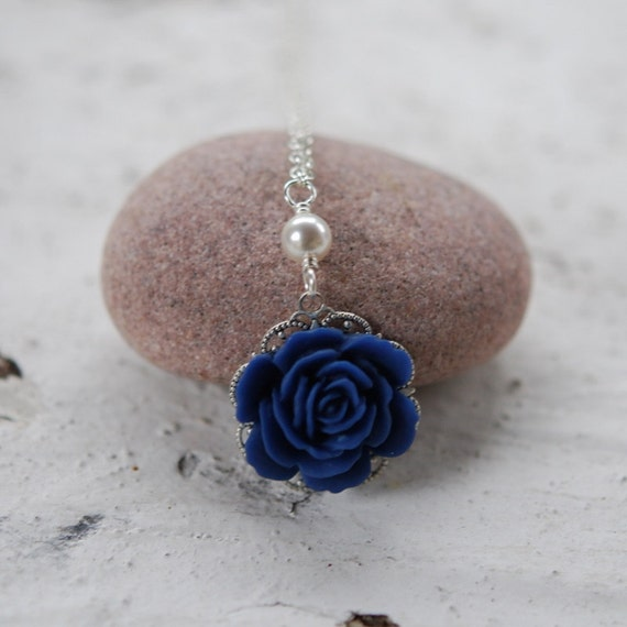 Cobalt Blue Rose and White Swarovski Pearl Necklace Jewelry Gift for Her.  Free Shipping.