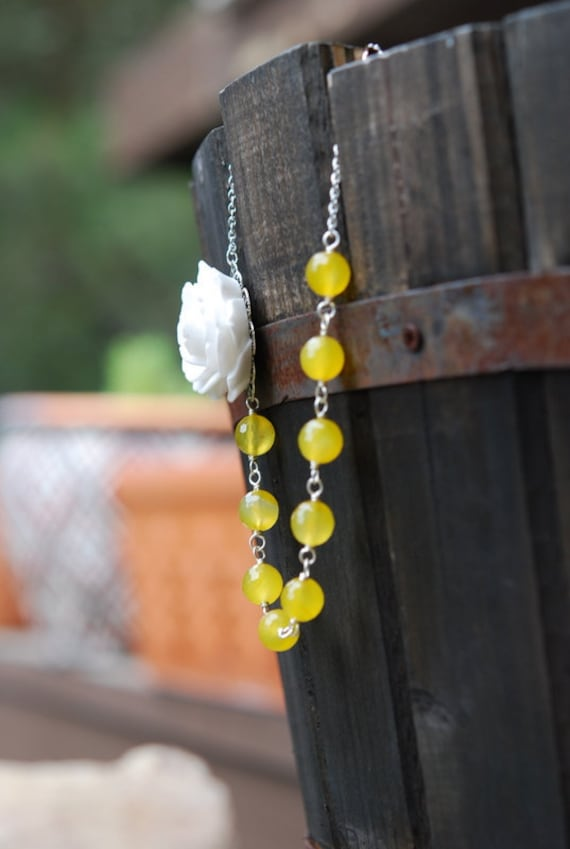 RESERVED for Alda - Yellow and White Rose Pearl and Agate Bridal and Bridesmaid Jewelry