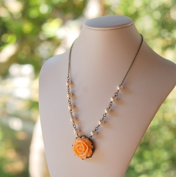 HUGE SALE SALE Peach Rose and White Pearl Beaded Necklace in Vintage Style Antique Brass