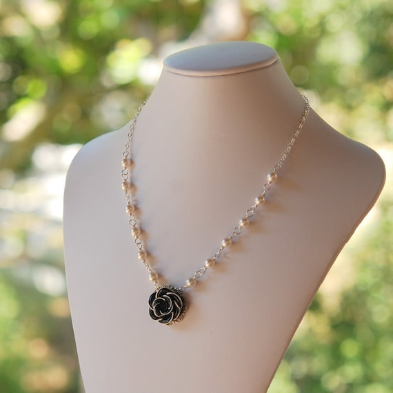 CYBER MONDAY SALE Black Rose and White Swarovski Pearl Necklace Jewelry Gift for Her.  Free Shipping.