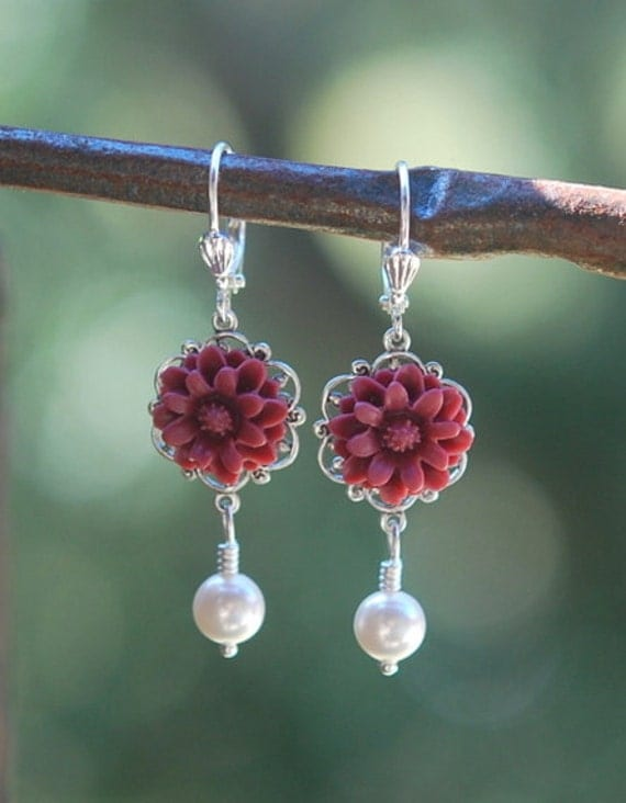 Burgundy Flower and White Swarovski Pearl Earrings Jewelry Gift for Her.  Free Shipping.