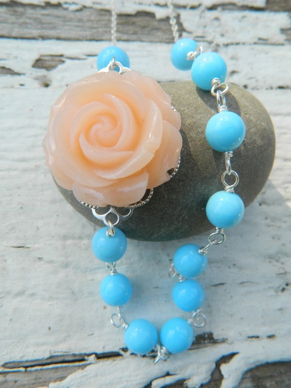 HUGE SALE SALE Soft Peach Rose and Light Blue Beaded Asymmetrical Necklace