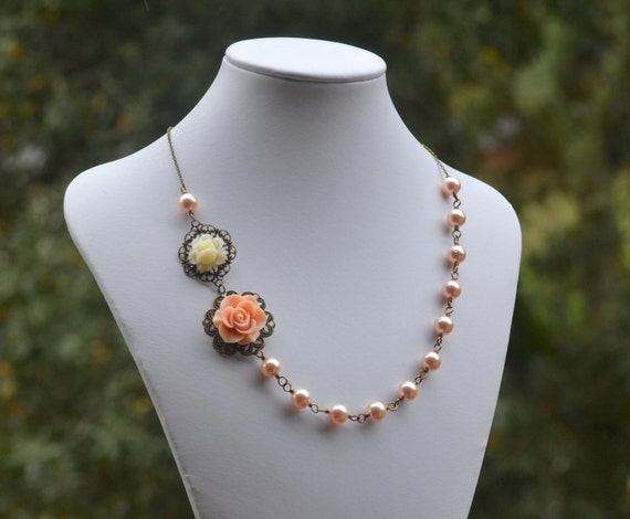 Romantic Asymmetrical Peach Rose and Ivory Rose Necklace with Peach Swarovski Pearls Jewelry Gift for Her.  Free Shipping.